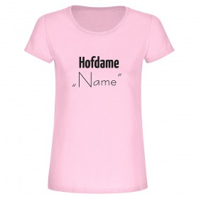 "T-Shirt ""Hofdame (Name)"" in lila für den JGA"