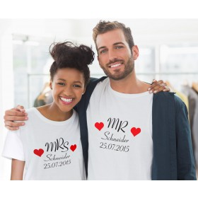 Partner T-Shirts mit Namen & Datum